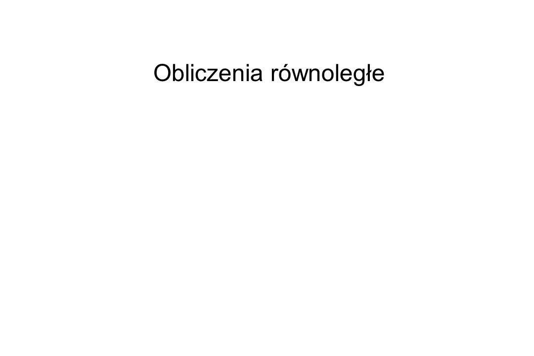 Materiały kursu programowania równoległego w CI TASK http://www.task.gda.pl/szkolenia/MPI_kurs Książka on-line ``Designing and Building Parallel Programs , Ian Foster, Addison Wesley, 1995 http://wotug.ukc.ac.uk/parallel/books/addison-wesley/dbpp/text/book.html Książka on-line: ``MPI: the Complete Reference , Marc Snir, Steve Otto, Steven Huss- Lederman, David Walker, Jack Dongarra, The MIT Press, 1995 http://www.netlib.org/utk/papers/mpi-book/mpi-book.html Tutorial z przykładami: http://www-unix.mcs.anl.gov/mpi/tutorial/gropp/talk.html MPI Forum http://www.mpi-forum.org Strona MPICH (wersja MPI opracowana na Uniwersytecie Michigan; znajduje się tam również książka on-line ``Using MPI ) http://www-unix.mcs.anl.gov/mpi/mpich Materiały dotyczące obliczeń równoległych dostępne na sieci