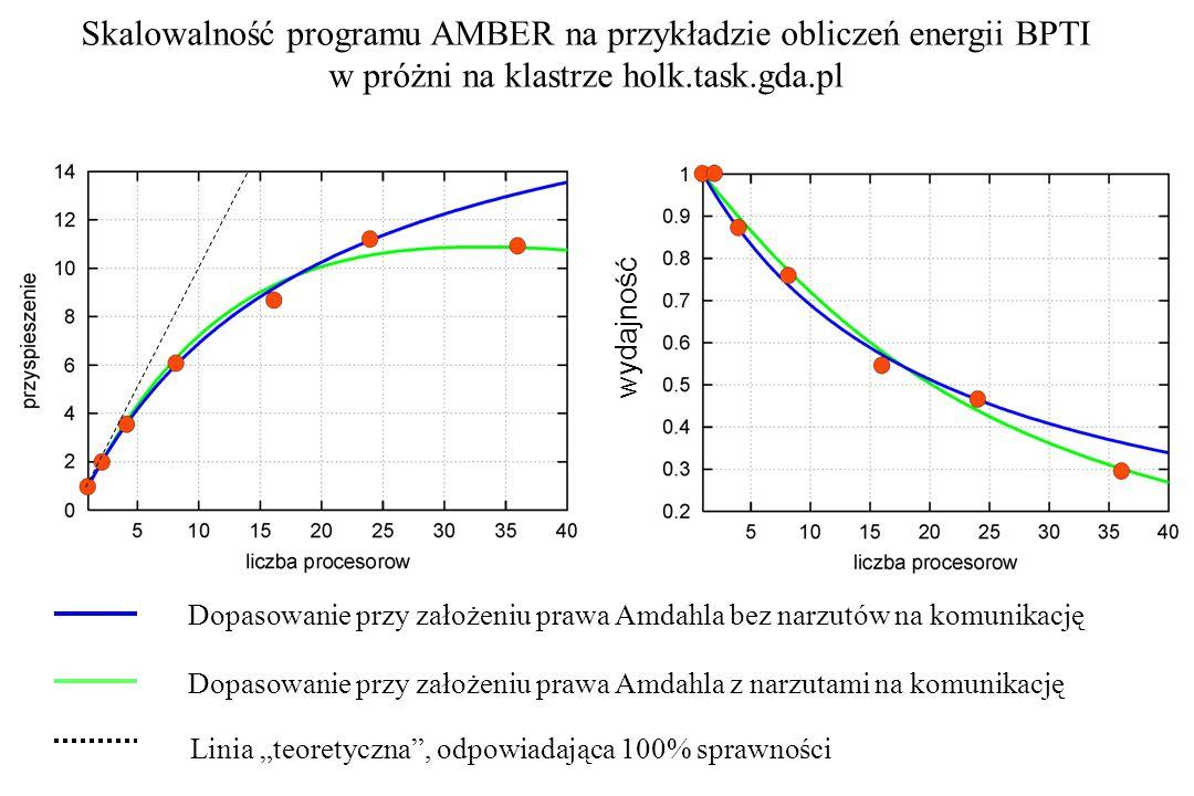 wydajność Skalowalność programu AMBER na przykładzie obliczeń energii BPTI w próżni na klastrze holk.task.gda.pl Dopasowanie przy założeniu prawa Amda