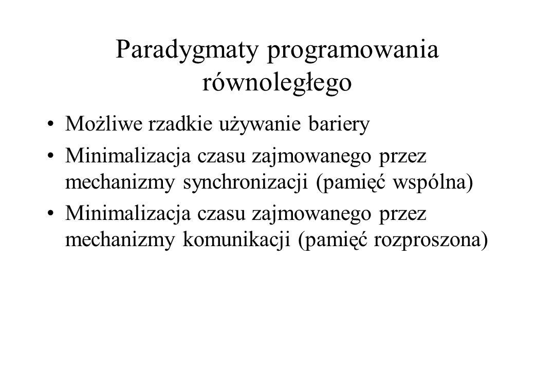 Paradygmaty programowania równoległego Możliwe rzadkie używanie bariery Minimalizacja czasu zajmowanego przez mechanizmy synchronizacji (pamięć wspóln