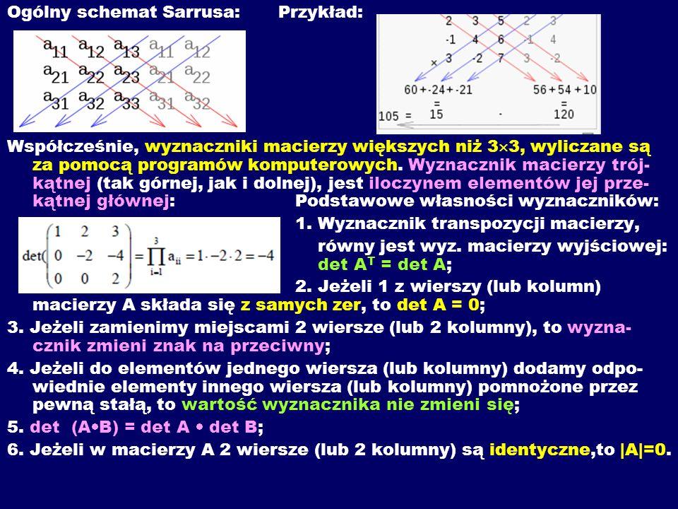 Ogólny schemat Sarrusa:Przykład: Współcześnie, wyznaczniki macierzy większych niż 3 3, wyliczane są za pomocą programów komputerowych. Wyznacznik maci