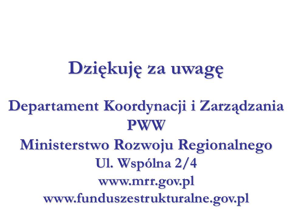 Departament Koordynacji i Zarządzania PWW Ministerstwo Rozwoju Regionalnego Ul. Wspólna 2/4 www.mrr.gov.pl www.funduszestrukturalne.gov.pl Dziękuję za