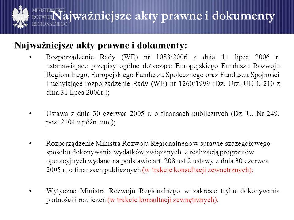 Najważniejsze akty prawne i dokumenty Najważniejsze akty prawne i dokumenty: Rozporządzenie Rady (WE) nr 1083/2006 z dnia 11 lipca 2006 r. ustanawiają