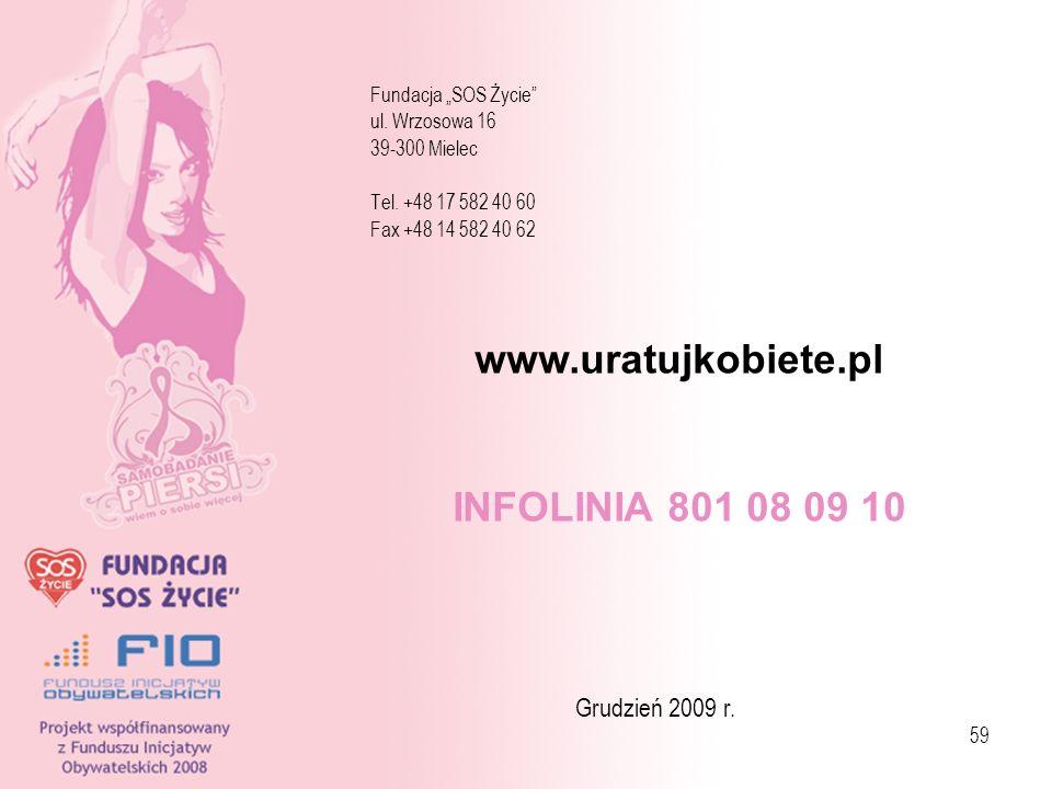 59 Fundacja SOS Życie ul. Wrzosowa 16 39-300 Mielec Tel. +48 17 582 40 60 Fax +48 14 582 40 62 Grudzień 2009 r. www.uratujkobiete.pl INFOLINIA 801 08