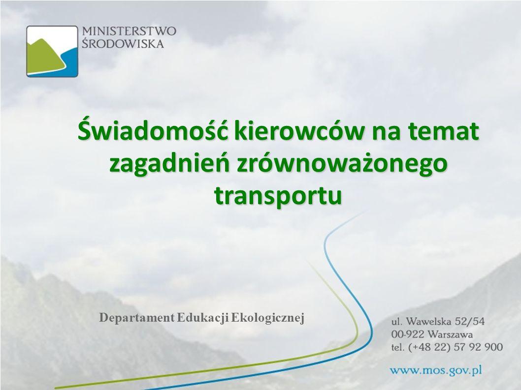 Świadomość kierowców na temat zagadnień zrównoważonego transportu Departament Edukacji Ekologicznej