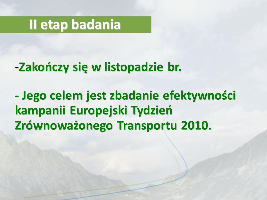 II etap badania -Zakończy się w listopadzie br. - Jego celem jest zbadanie efektywności kampanii Europejski Tydzień Zrównoważonego Transportu 2010.
