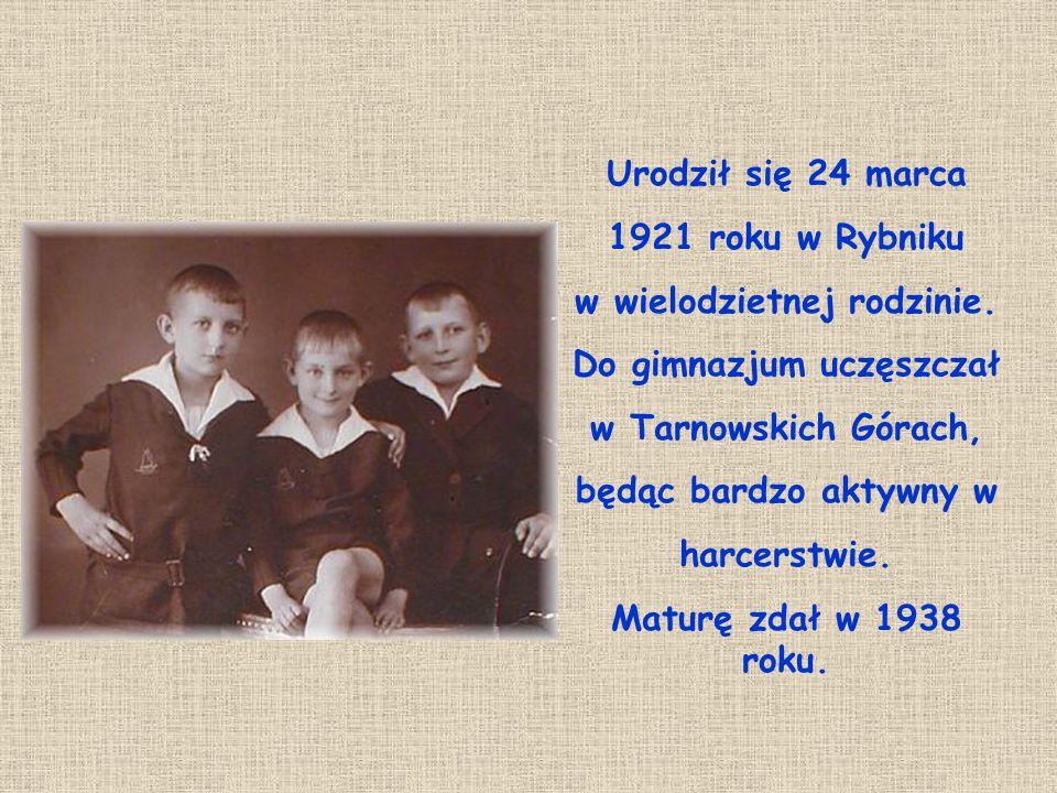 Urodził się 24 marca 1921 roku w Rybniku w wielodzietnej rodzinie. Do gimnazjum uczęszczał w Tarnowskich Górach, będąc bardzo aktywny w harcerstwie. M