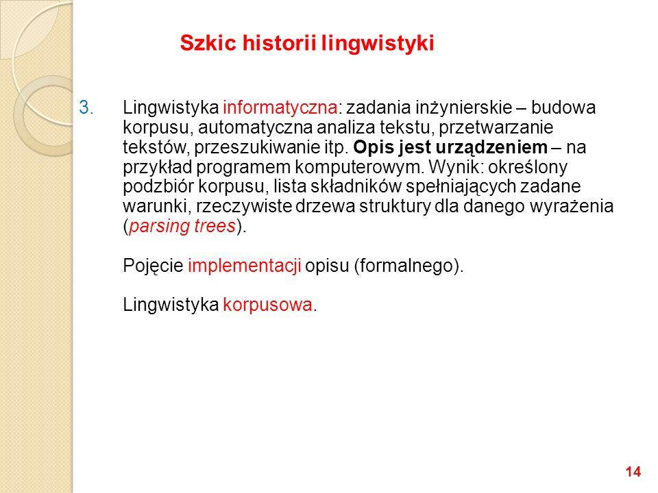 3.Lingwistyka informatyczna: zadania inżynierskie – budowa korpusu, automatyczna analiza tekstu, przetwarzanie tekstów, przeszukiwanie itp.