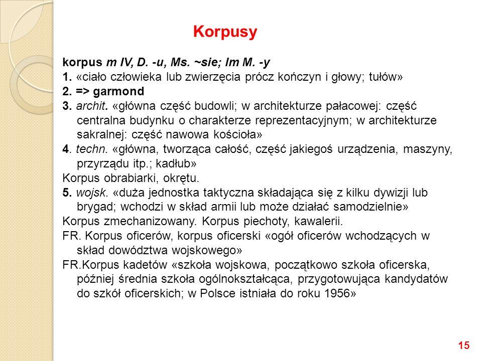 korpus m IV, D.-u, Ms. ~sie; lm M. -y 1.
