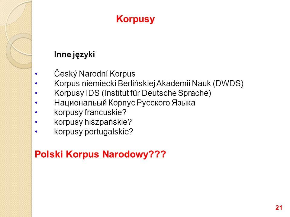 Inne języki Český Narodní Korpus Korpus niemiecki Berlińskiej Akademii Nauk (DWDS) Korpusy IDS (Institut für Deutsche Sprache) Национальый Корпус Русского Языка korpusy francuskie.