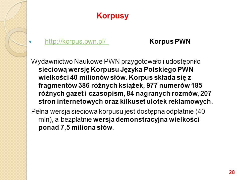 http://korpus.pwn.pl/ Korpus PWN http://korpus.pwn.pl/ Wydawnictwo Naukowe PWN przygotowało i udostępniło sieciową wersję Korpusu Języka Polskiego PWN wielkości 40 milionów słów.
