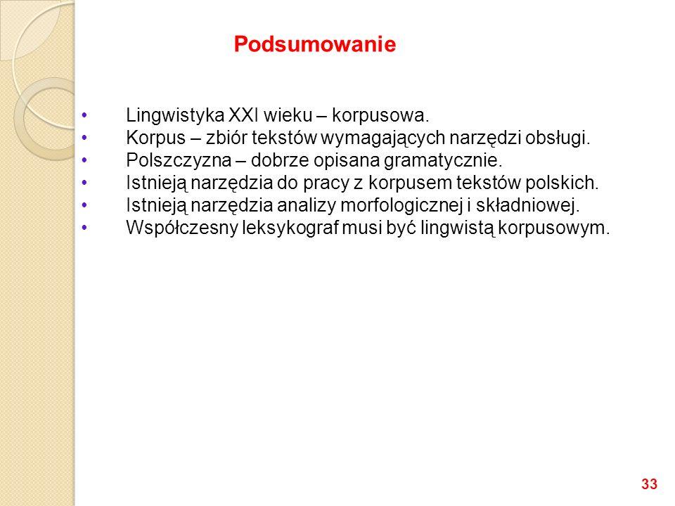 Lingwistyka XXI wieku – korpusowa.Korpus – zbiór tekstów wymagających narzędzi obsługi.