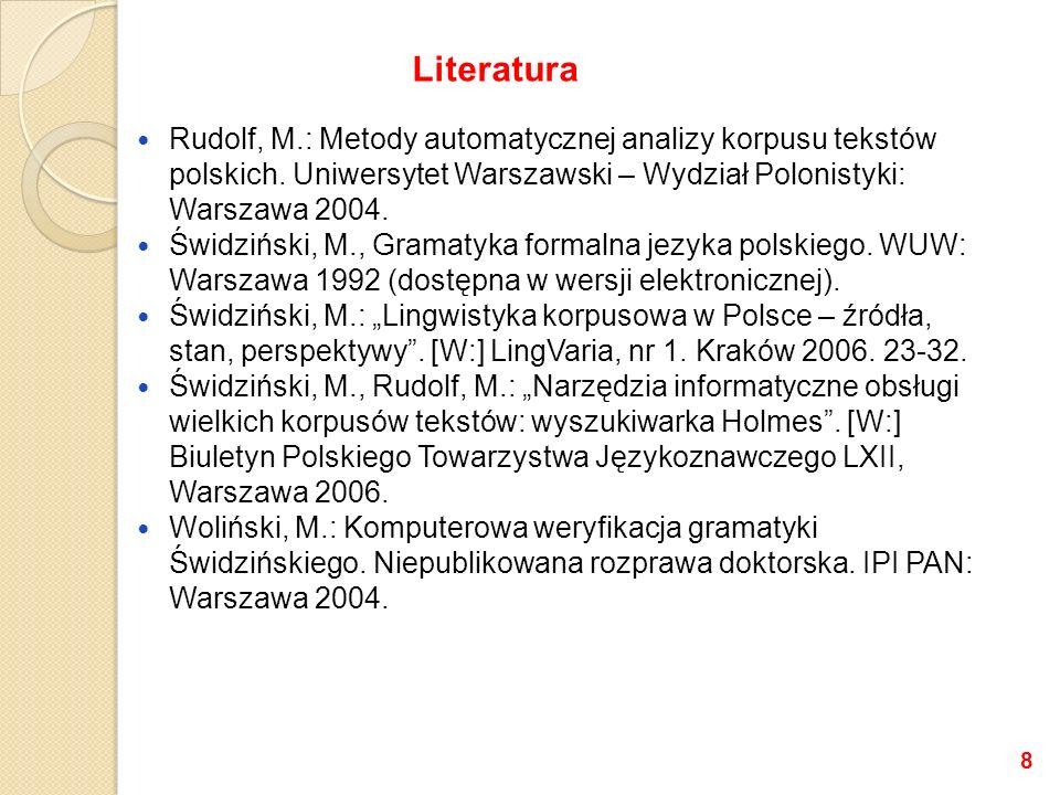 Rudolf, M.: Metody automatycznej analizy korpusu tekstów polskich.