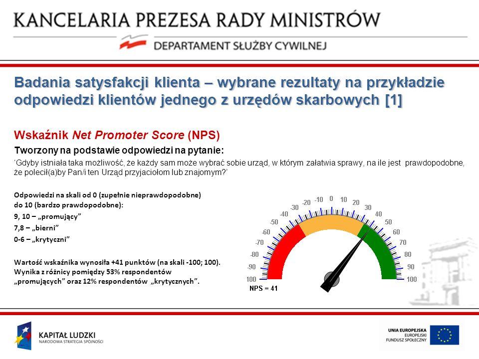 Badania satysfakcji klienta – wybrane rezultaty na przykładzie odpowiedzi klientów jednego z urzędów skarbowych [1] Wskaźnik Net Promoter Score (NPS)