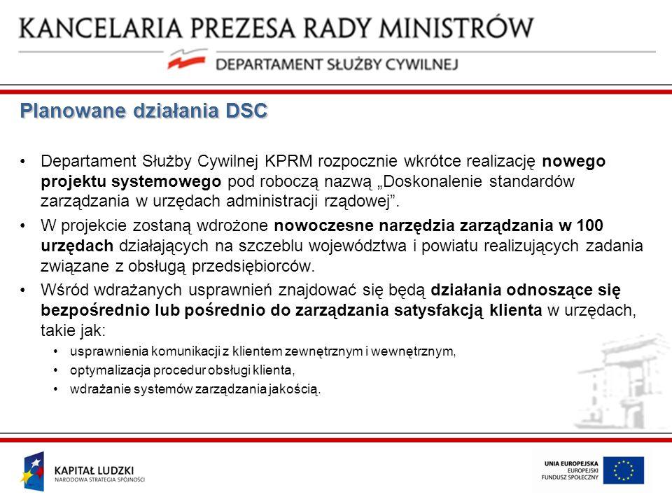 Planowane działania DSC Departament Służby Cywilnej KPRM rozpocznie wkrótce realizację nowego projektu systemowego pod roboczą nazwą Doskonalenie stan