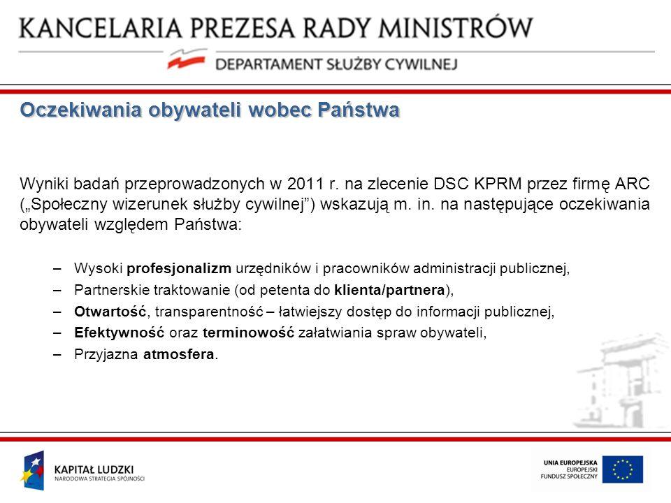 Oczekiwania obywateli wobec Państwa Wyniki badań przeprowadzonych w 2011 r. na zlecenie DSC KPRM przez firmę ARC (Społeczny wizerunek służby cywilnej)