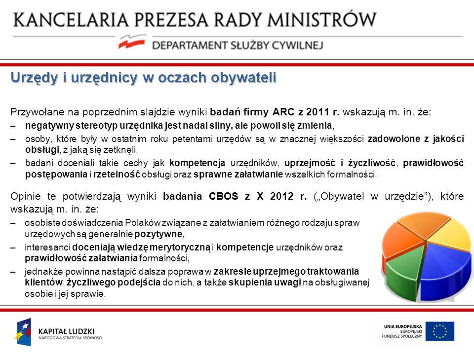 Urzędy i urzędnicy w oczach obywateli Przywołane na poprzednim slajdzie wyniki badań firmy ARC z 2011 r. wskazują m. in. że: –negatywny stereotyp urzę