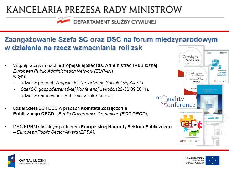 Zaangażowanie Szefa SC oraz DSC na forum międzynarodowym w działania na rzecz wzmacniania roli zsk Współpraca w ramach Europejskiej Sieci ds. Administ