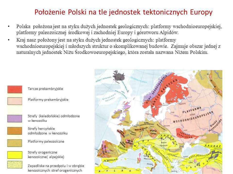 Położenie Polski na tle jednostek tektonicznych Europy Polska położona jest na styku dużych jednostek geologicznych: platformy wschodnioeuropejskiej,