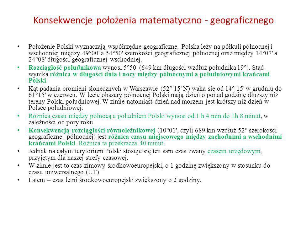 Konsekwencje położenia matematyczno - geograficznego Położenie Polski wyznaczają współrzędne geograficzne. Polska leży na półkuli północnej i wschodni