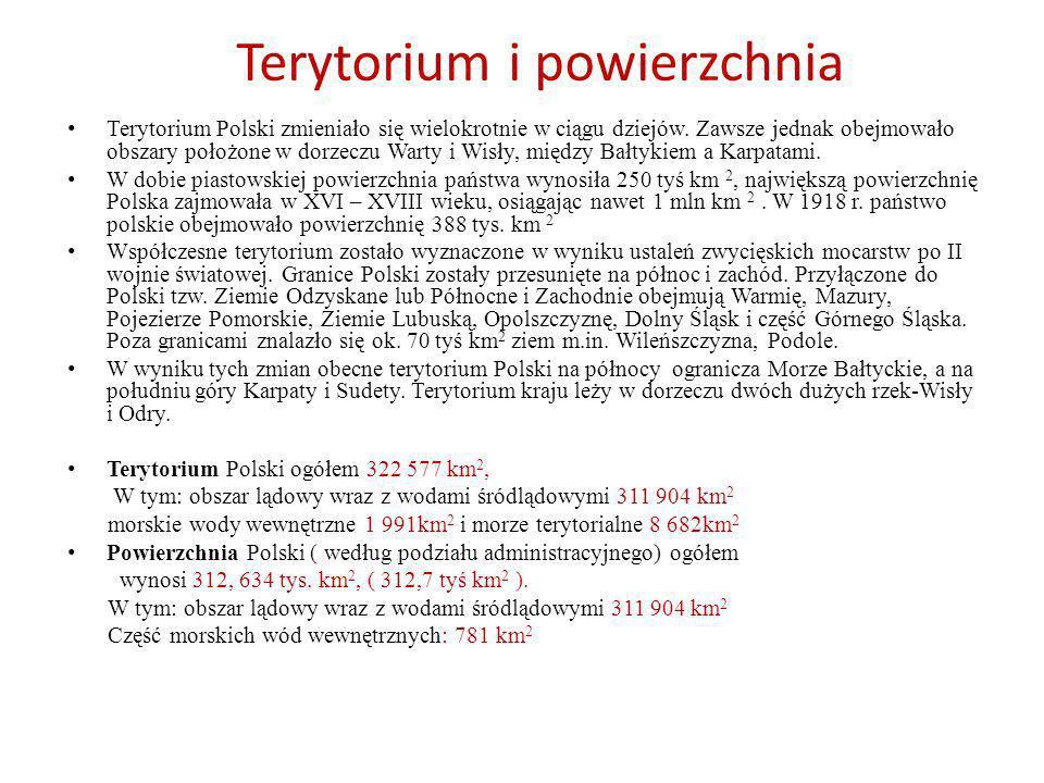 Terytorium i powierzchnia Terytorium Polski zmieniało się wielokrotnie w ciągu dziejów. Zawsze jednak obejmowało obszary położone w dorzeczu Warty i W