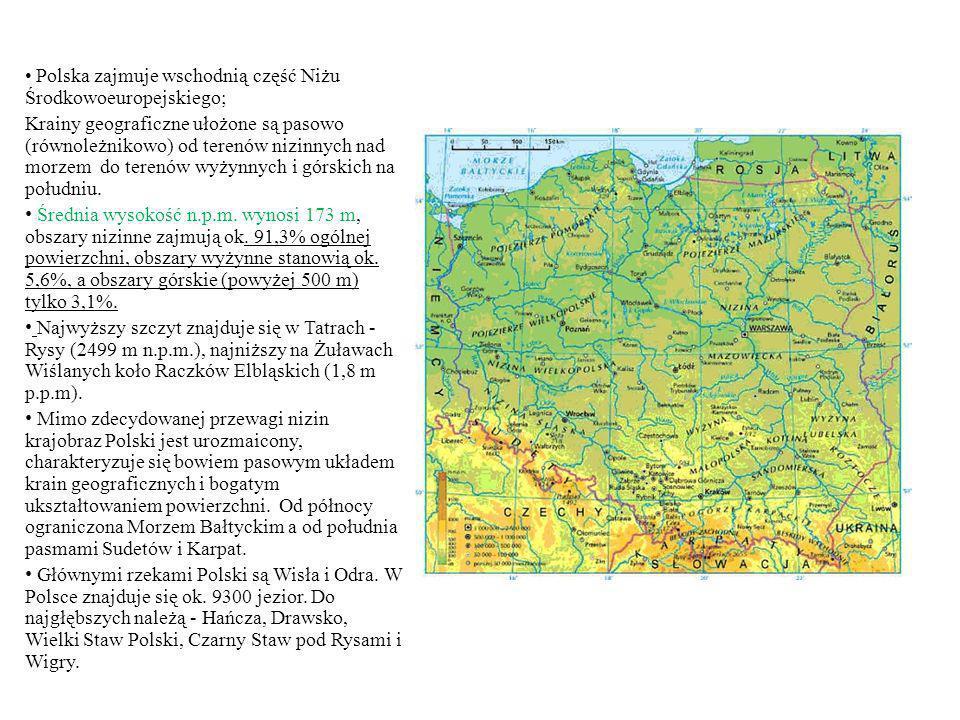 Polska zajmuje wschodnią część Niżu Środkowoeuropejskiego; Krainy geograficzne ułożone są pasowo (równoleżnikowo) od terenów nizinnych nad morzem do t