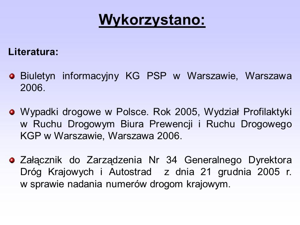 Literatura: Biuletyn informacyjny KG PSP w Warszawie, Warszawa 2006. Wypadki drogowe w Polsce. Rok 2005, Wydział Profilaktyki w Ruchu Drogowym Biura P