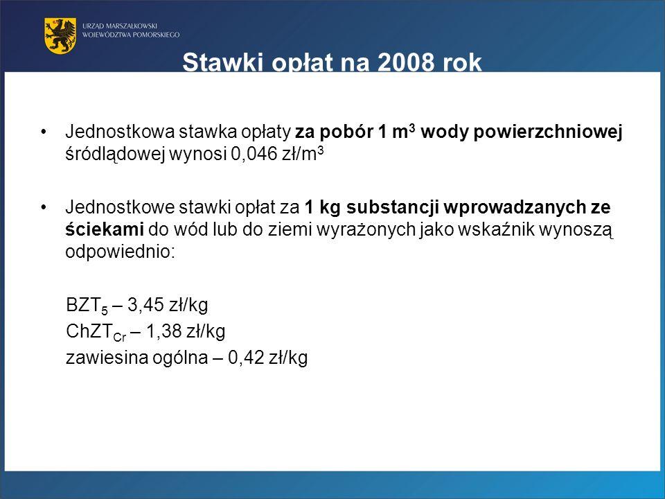 Stawki opłat na 2008 rok Jednostkowa stawka opłaty za pobór 1 m 3 wody powierzchniowej śródlądowej wynosi 0,046 zł/m 3 Jednostkowe stawki opłat za 1 k