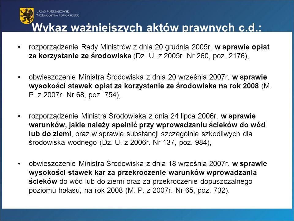 Wykaz ważniejszych aktów prawnych c.d.: rozporządzenie Rady Ministrów z dnia 20 grudnia 2005r. w sprawie opłat za korzystanie ze środowiska (Dz. U. z