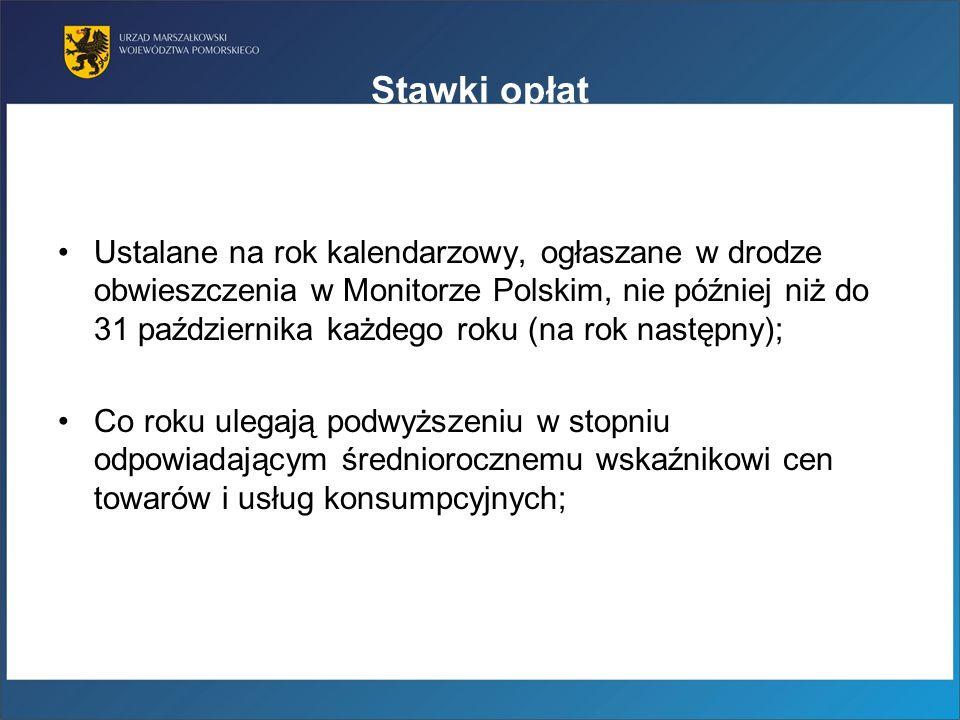 Stawki opłat Ustalane na rok kalendarzowy, ogłaszane w drodze obwieszczenia w Monitorze Polskim, nie później niż do 31 października każdego roku (na r