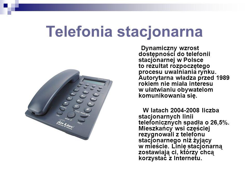 Telefonia stacjonarna Dynamiczny wzrost dostępności do telefonii stacjonarnej w Polsce to rezultat rozpoczętego procesu uwalniania rynku. Autorytarna