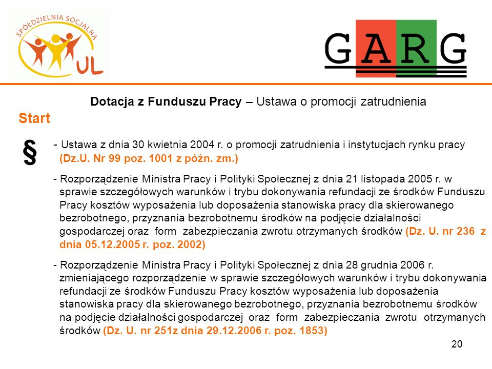 20 Dotacja z Funduszu Pracy – Ustawa o promocji zatrudnienia Start § - Ustawa z dnia 30 kwietnia 2004 r. o promocji zatrudnienia i instytucjach rynku