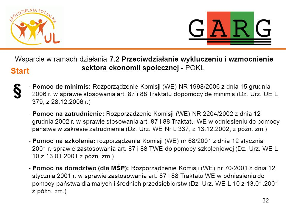 32 Wsparcie w ramach działania 7.2 Przeciwdziałanie wykluczeniu i wzmocnienie sektora ekonomii społecznej - POKL Start § - Pomoc de minimis: Rozporząd