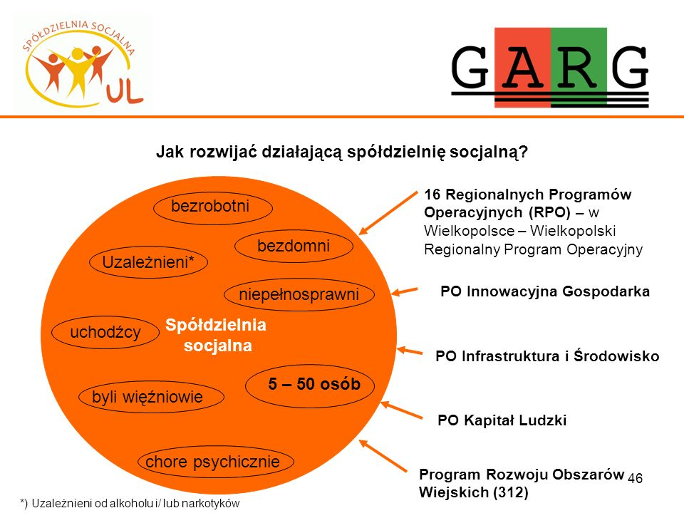 46 Jak rozwijać działającą spółdzielnię socjalną? Spółdzielnia socjalna 16 Regionalnych Programów Operacyjnych (RPO) – w Wielkopolsce – Wielkopolski R