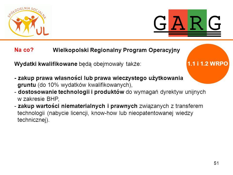 51 Wielkopolski Regionalny Program Operacyjny Na co? Wydatki kwalifikowane będą obejmowały także: - zakup prawa własności lub prawa wieczystego użytko