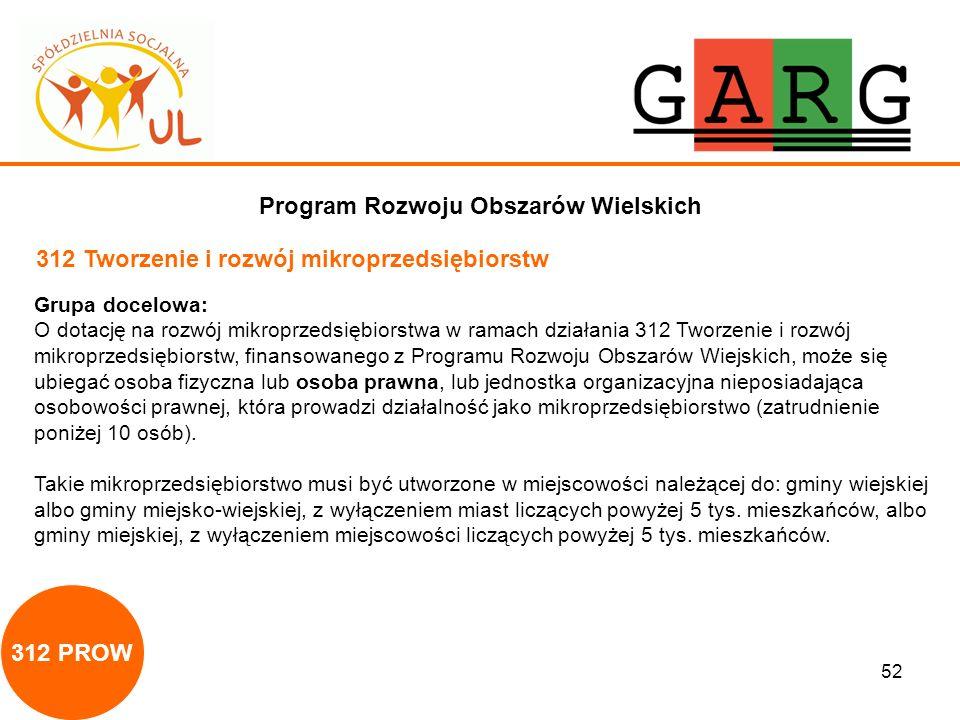 52 Program Rozwoju Obszarów Wielskich 312 Tworzenie i rozwój mikroprzedsiębiorstw Grupa docelowa: O dotację na rozwój mikroprzedsiębiorstwa w ramach d