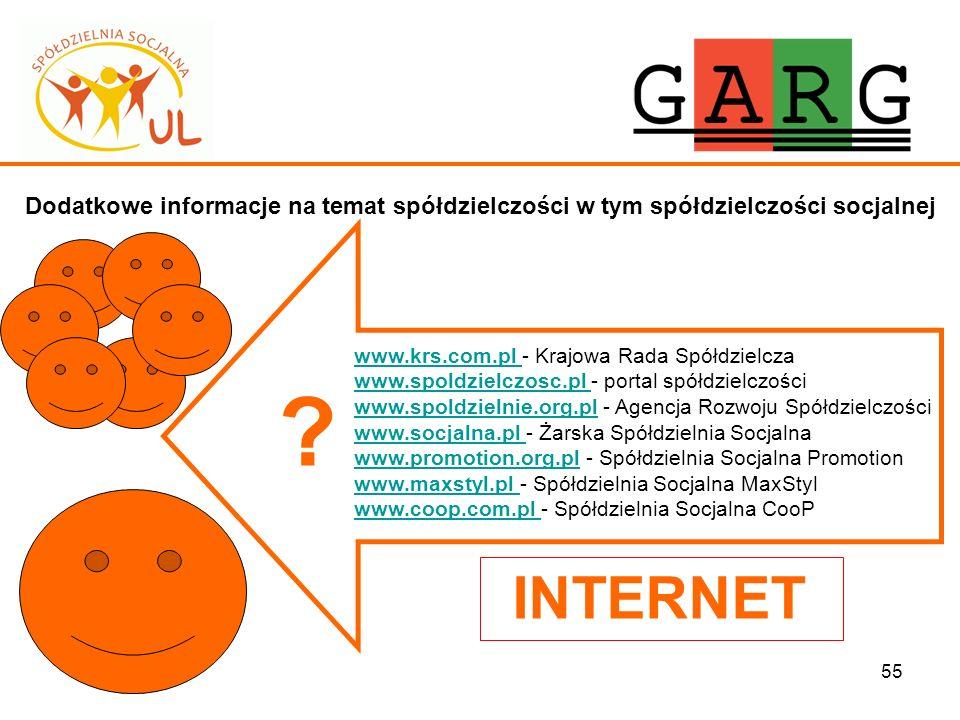 55 Dodatkowe informacje na temat spółdzielczości w tym spółdzielczości socjalnej www.krs.com.pl www.krs.com.pl - Krajowa Rada Spółdzielcza www.spoldzi