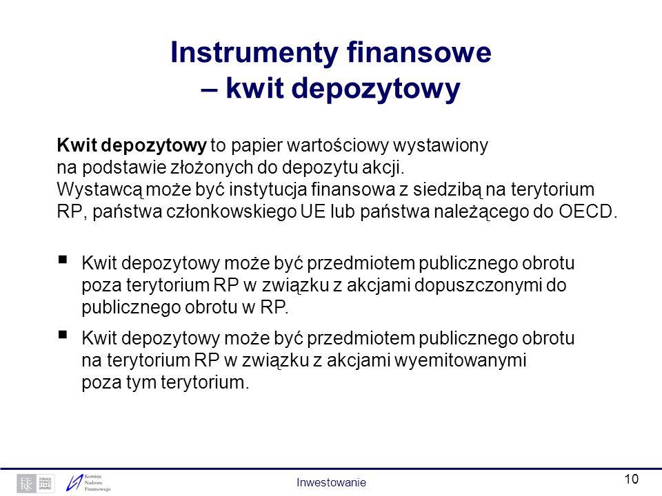 9 Instrumenty finansowe – prawa do akcji Prawo do akcji to papier wartościowy, który daje uprawnienie do otrzymania akcji nowej emisji spółki publiczn