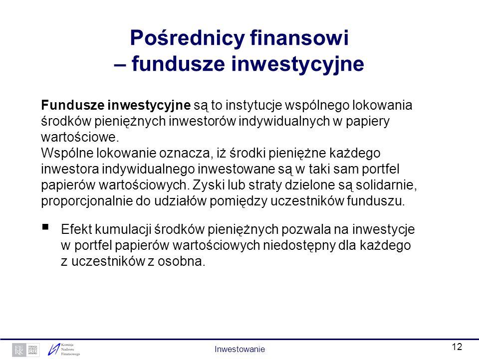 11 Pośrednicy finansowi – podmioty prowadzące działalność maklerską Podmioty prowadzące działalność maklerską (banki lub domy maklerskie) m.in. prowad