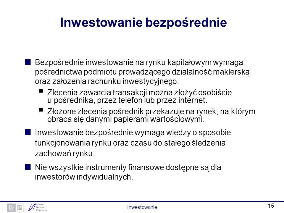 14 Inwestowanie pośrednie (2) otwartych funduszy inwestycyjnych – powierzając środki funduszowi inwestor nabywa jednostki uczestnictwa, które może ods
