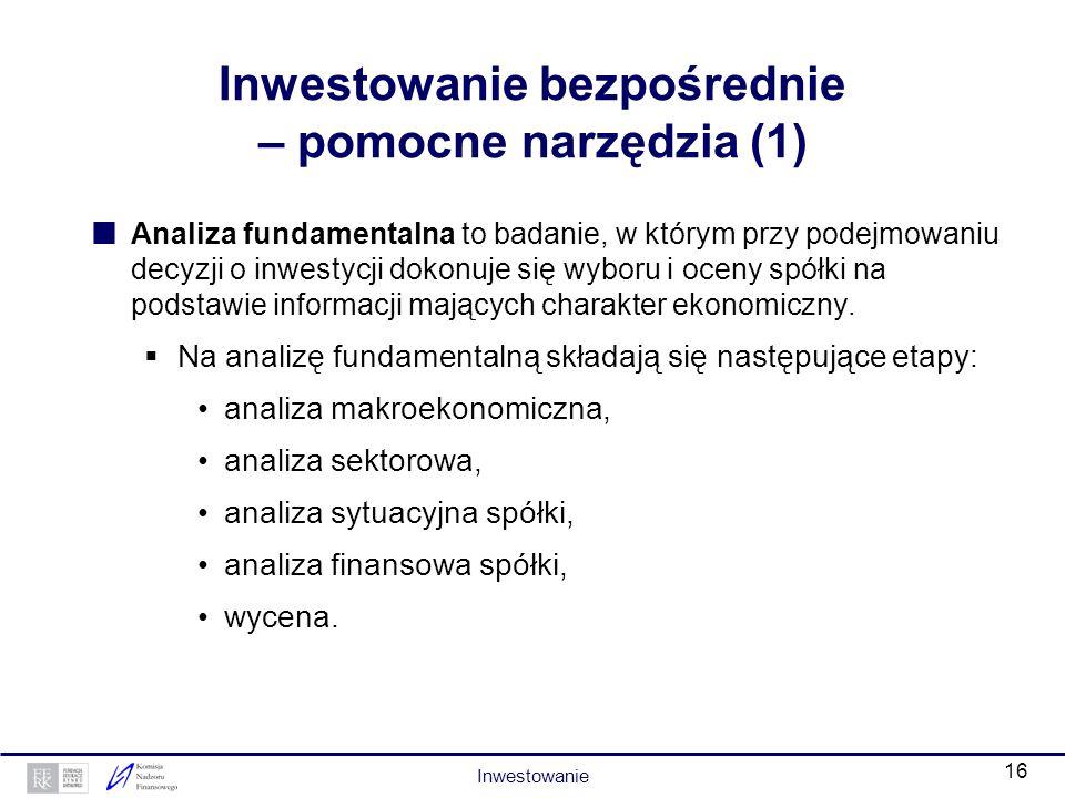15 Inwestowanie bezpośrednie Bezpośrednie inwestowanie na rynku kapitałowym wymaga pośrednictwa podmiotu prowadzącego działalność maklerską oraz założ