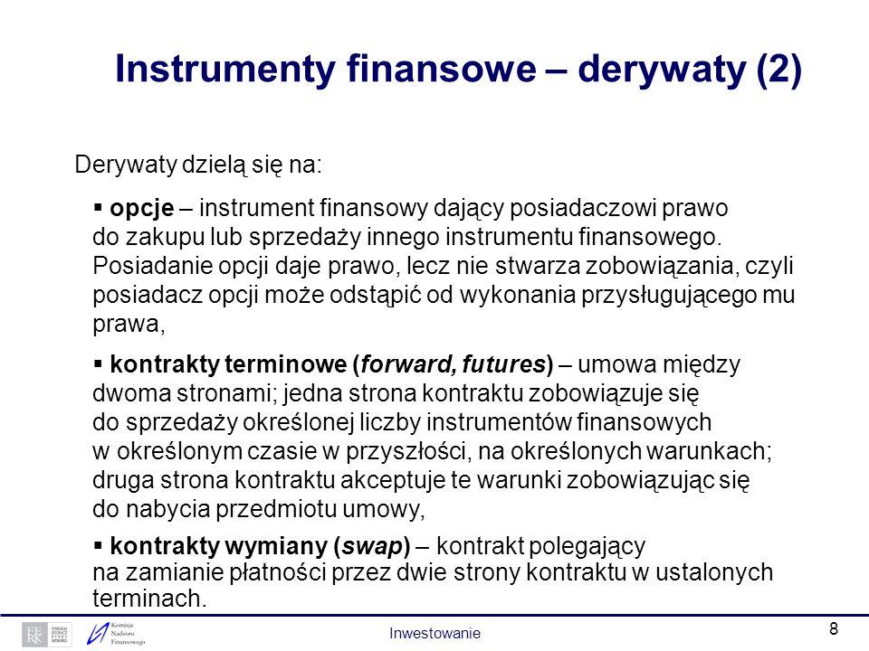 7 Instrumenty finansowe – derywaty (1) Derywaty, inaczej prawa lub instrumenty pochodne, to papiery wartościowe, których cena zależy bezpośrednio lub