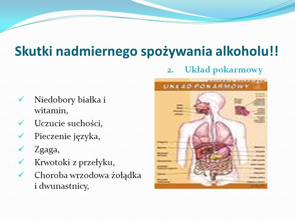 Skutki nadmiernego spożywania alkoholu!! 2. Układ pokarmowy Niedobory białka i witamin, Uczucie suchości, Pieczenie języka, Zgaga, Krwotoki z przełyku
