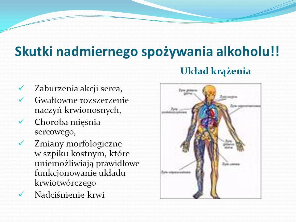 Skutki nadmiernego spożywania alkoholu!! Układ krążenia Zaburzenia akcji serca, Gwałtowne rozszerzenie naczyń krwionośnych, Choroba mięśnia sercowego,