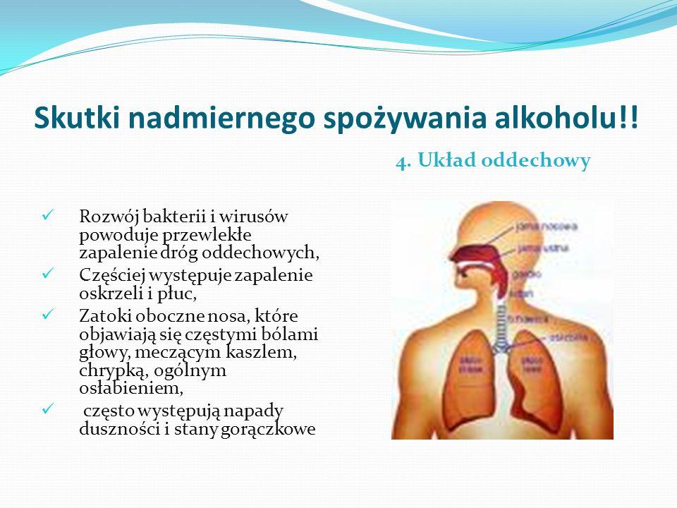 Skutki nadmiernego spożywania alkoholu!! 4. Układ oddechowy Rozwój bakterii i wirusów powoduje przewlekłe zapalenie dróg oddechowych, Częściej występu