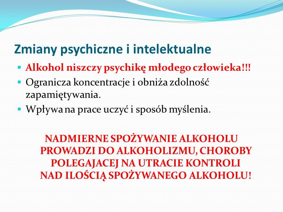 Zmiany psychiczne i intelektualne Alkohol niszczy psychikę młodego człowieka!!! Ogranicza koncentracje i obniża zdolność zapamiętywania. Wpływa na pra