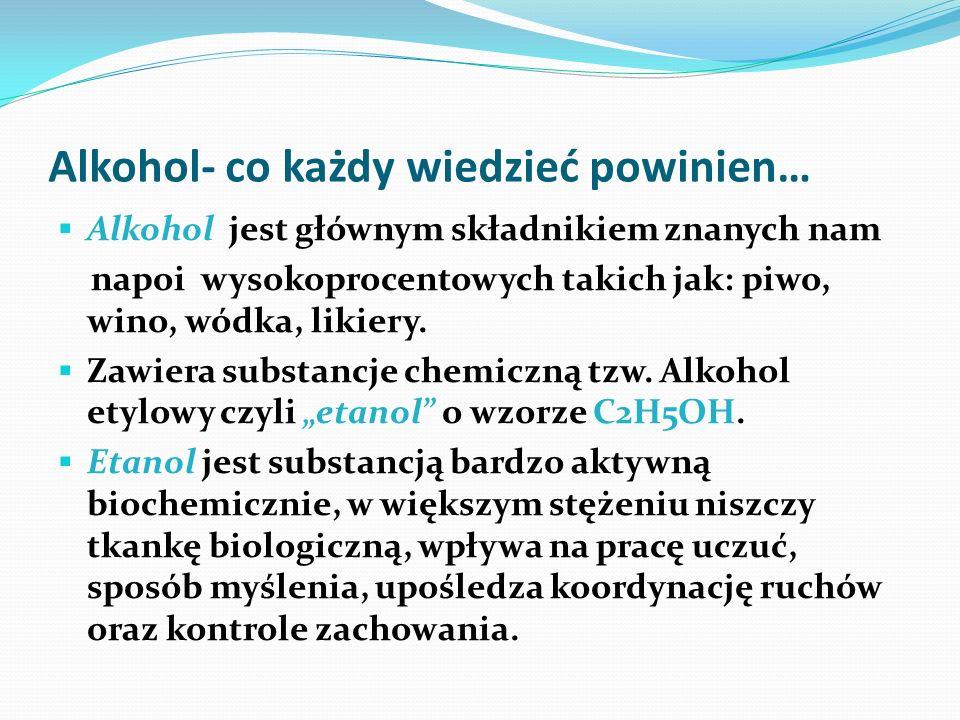 Alkohol- co każdy wiedzieć powinien… Alkohol jest głównym składnikiem znanych nam napoi wysokoprocentowych takich jak: piwo, wino, wódka, likiery. Zaw