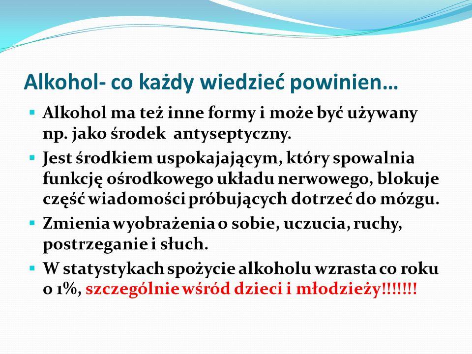 Alkohol- co każdy wiedzieć powinien… Alkohol ma też inne formy i może być używany np. jako środek antyseptyczny. Jest środkiem uspokajającym, który sp