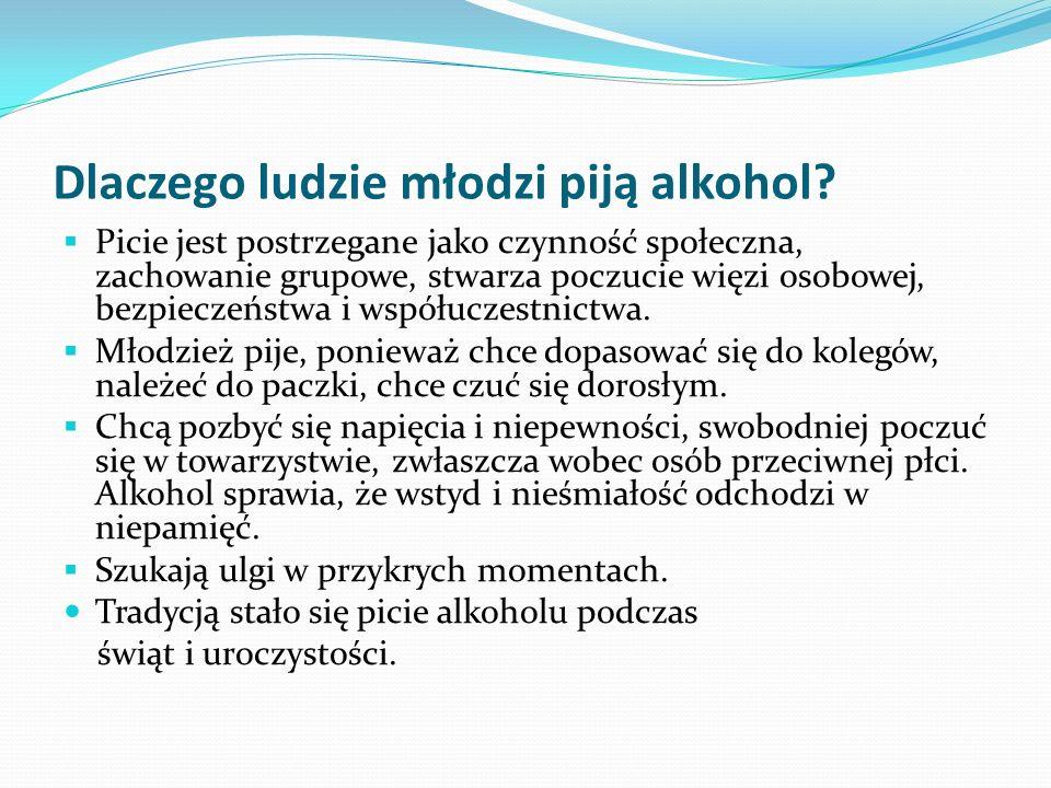 Dlaczego ludzie młodzi piją alkohol? Picie jest postrzegane jako czynność społeczna, zachowanie grupowe, stwarza poczucie więzi osobowej, bezpieczeńst