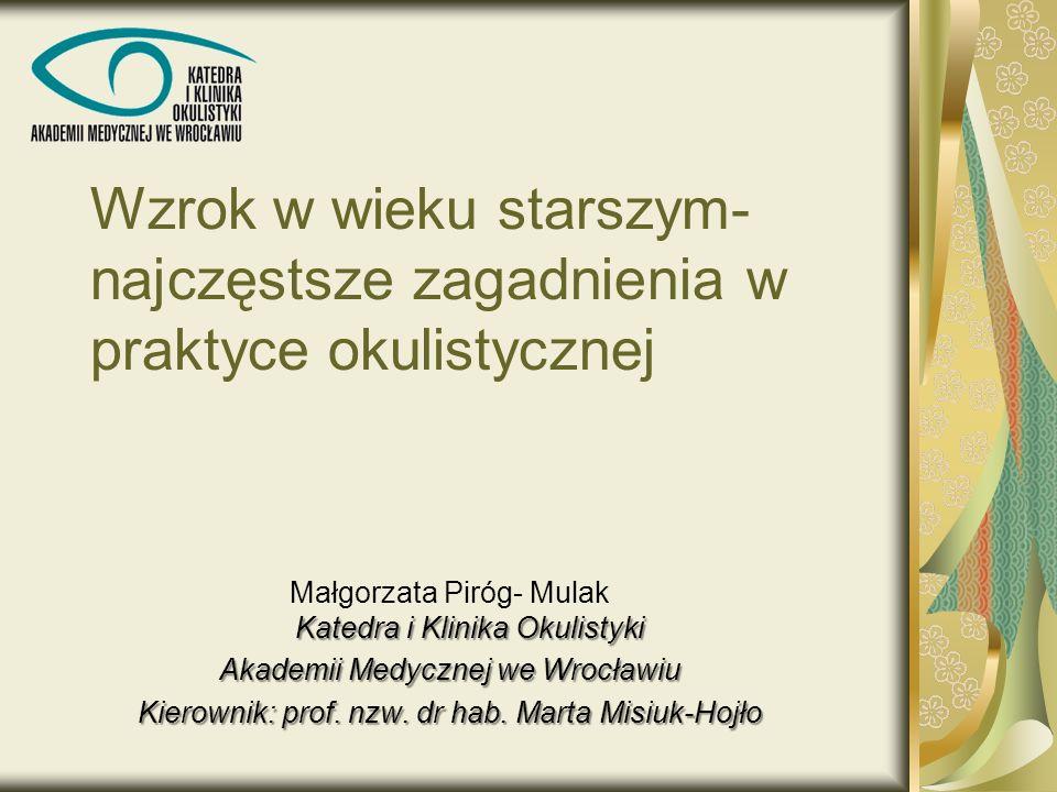 Wzrok w wieku starszym- najczęstsze zagadnienia w praktyce okulistycznej Katedra i Klinika Okulistyki Małgorzata Piróg- Mulak Katedra i Klinika Okulis