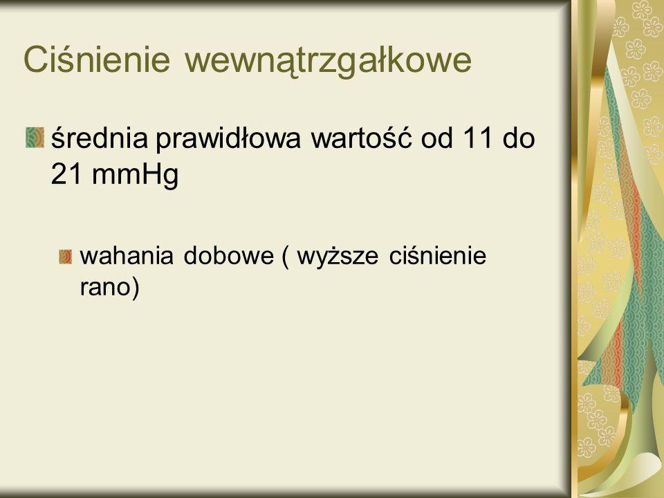 Ciśnienie wewnątrzgałkowe średnia prawidłowa wartość od 11 do 21 mmHg wahania dobowe ( wyższe ciśnienie rano)